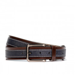 Men belt 18b brown+biz indigo