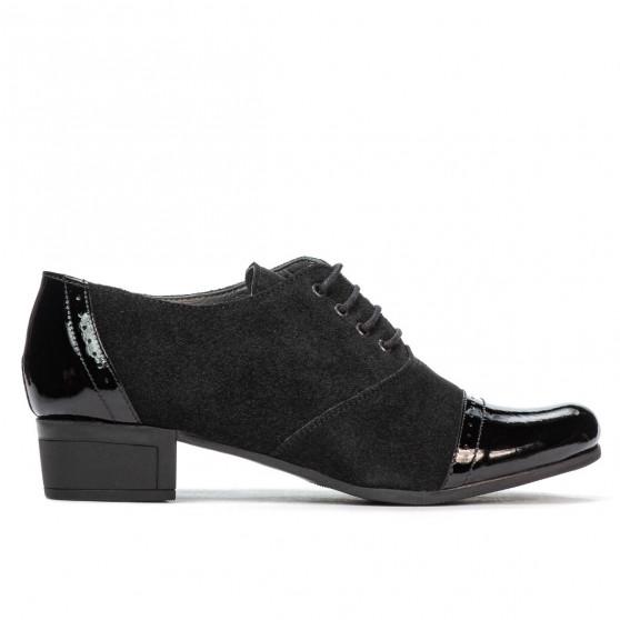 Pantofi casual dama 652 lac negru combinat