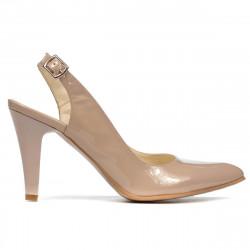 Women sandals 1236 patent beige pearl