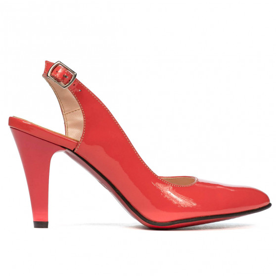 Women sandals 1236 patent red coral