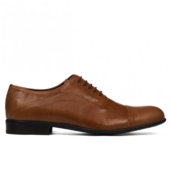Men stylish, elegant shoes 762 brown cerat