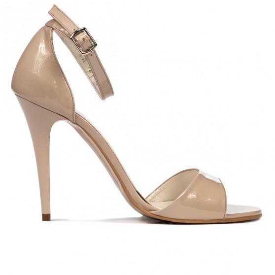 Women sandals 1238 patent beige pearl