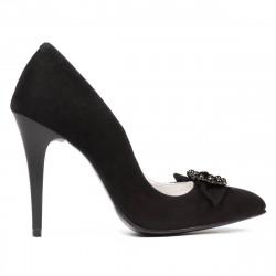Women stylish, elegant shoes 1279 black antilopa