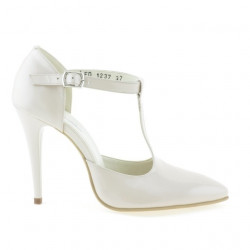 Women sandals 1237 patent ivory