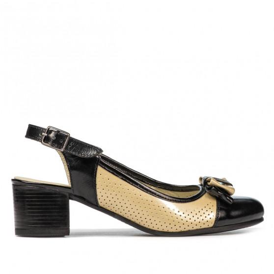 Women sandals 5013 patent black+beige