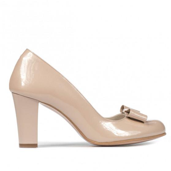 Women stylish, elegant shoes 1245 patent ivory