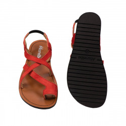 Women sandals 5076 red coral velour