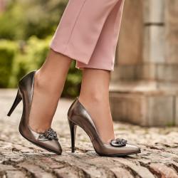 Women stylish, elegant shoes 1279 silver pearl