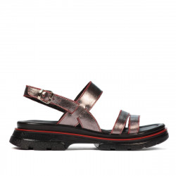 Women sandals 5075 gray pearl+red