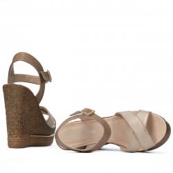 Women sandals 5078 beige+golden