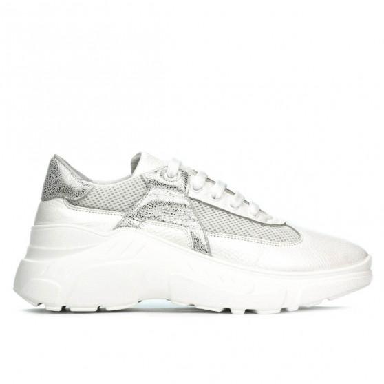 Pantofi sport dama 6015 alb sidef combinat