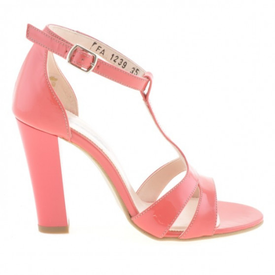 Women sandals 1239s patent red coral
