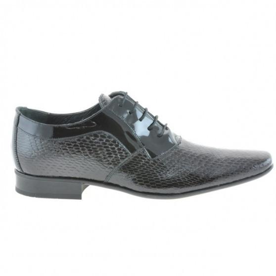 Men stylish, elegant shoes 798 croco patent black