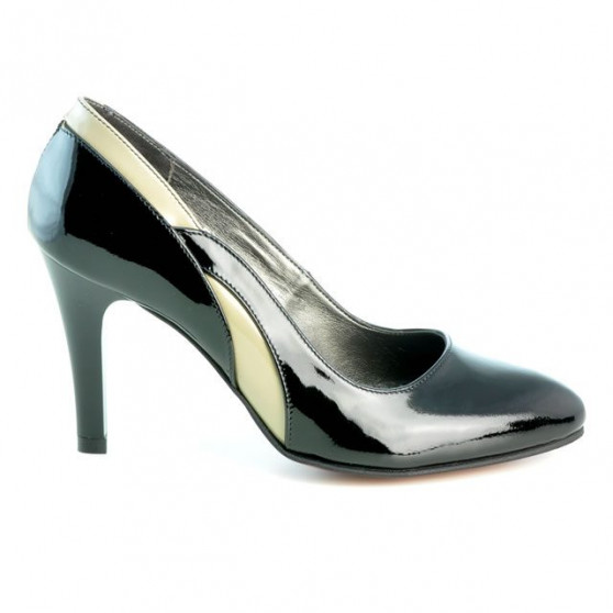 Pantofi eleganti dama 1218 lac negru+bej