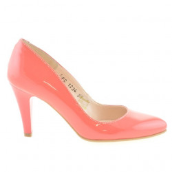 Women stylish, elegant shoes 1234 patent red coral