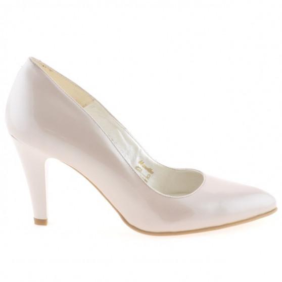 Women stylish, elegant shoes 1234 patent beige pearl