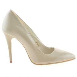 Women stylish, elegant shoes 1241 patent beige