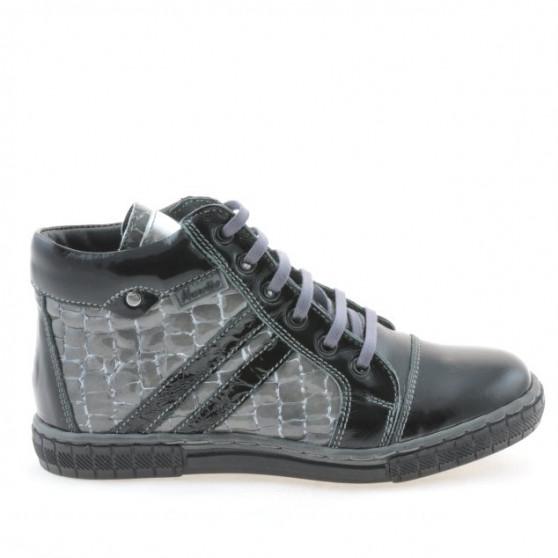 Children boots 3213 patent black+gray