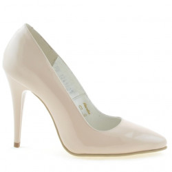 Women stylish, elegant shoes 1241 patent beige pearl