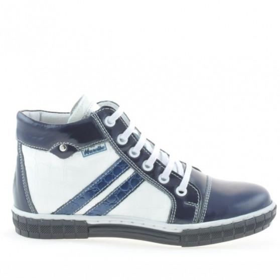 Children boots 3213 patent indigo+white