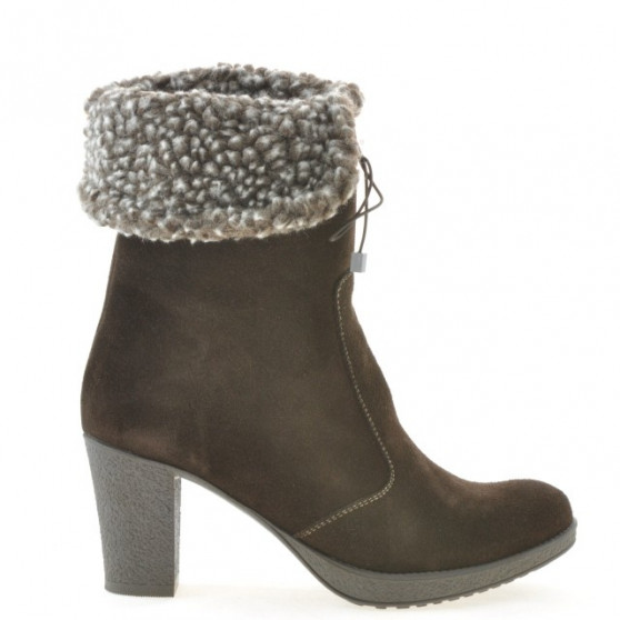 Women knee boots 3266 cafe velour