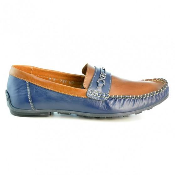 Men loafers, moccasins 737 indigo+brown