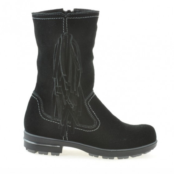 Children knee boots 3208 black velour