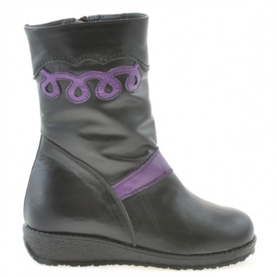 Small children knee boots 23c black+purple