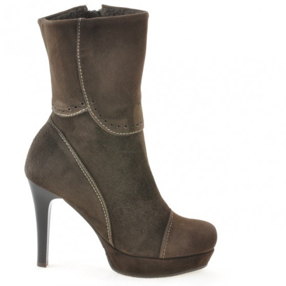 Women knee boots 1132 brown antilopa