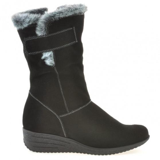 Women knee boots 3246 black velour