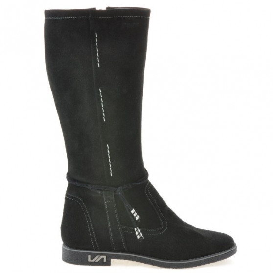 Women knee boots 3276 black velour