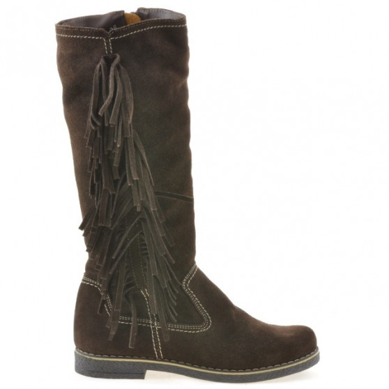Women knee boots 3243 cafe velour