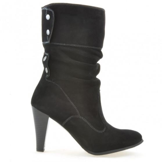 Women knee boots 1113 black+black antilopa