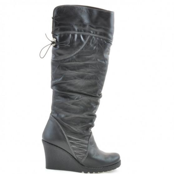 Women knee boots 226 black+crep black