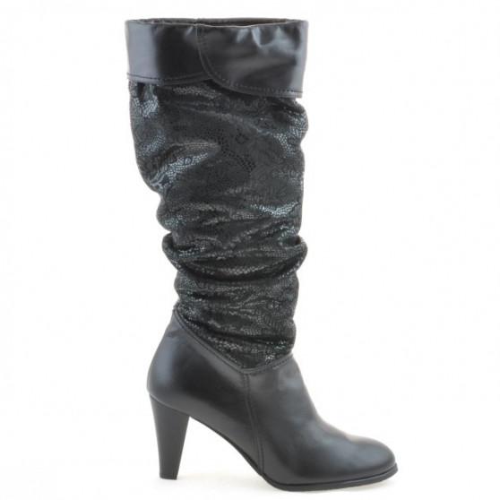 Women knee boots 1120 black+black antilopa pic