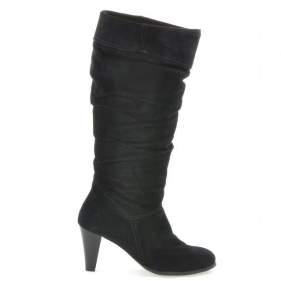 Women knee boots 1120 black+black antilopa