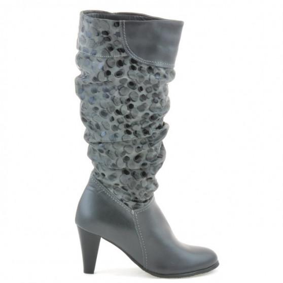 Women knee boots 1120 gray+gray antilopa