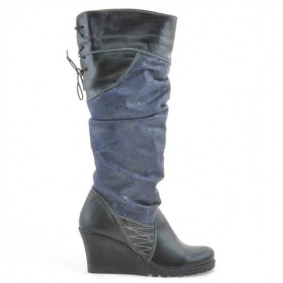 Women knee boots 226 black+indigo antilopa