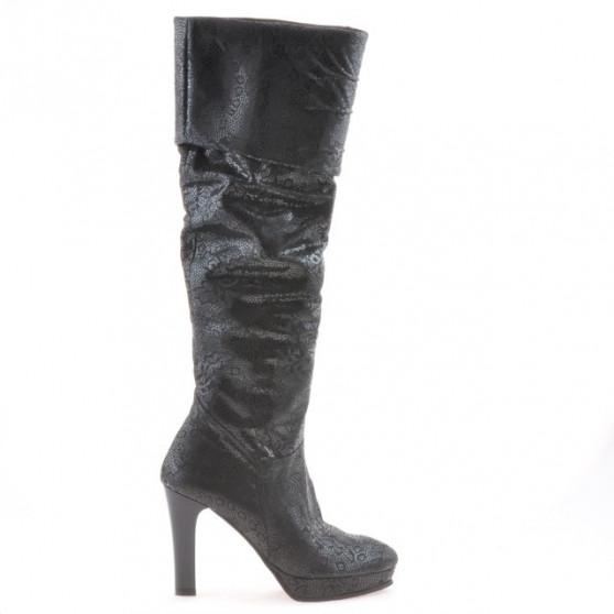 Women knee boots 1118 black antilopa pic