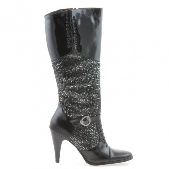 Women knee boots 1109 patent black combined