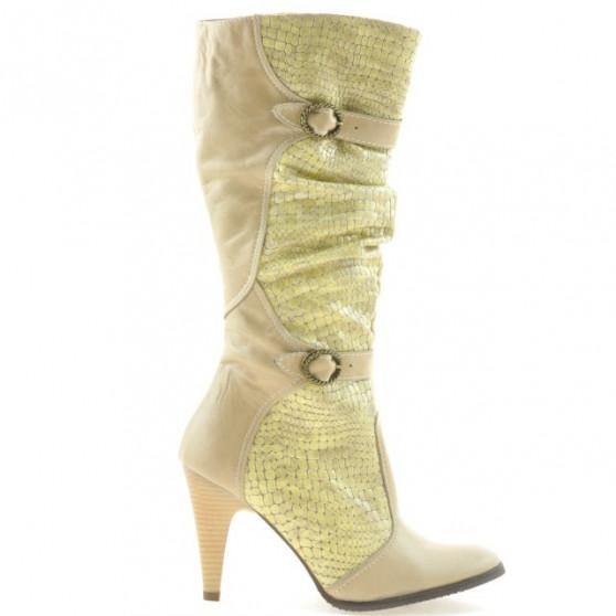 Women knee boots 008 croco beige
