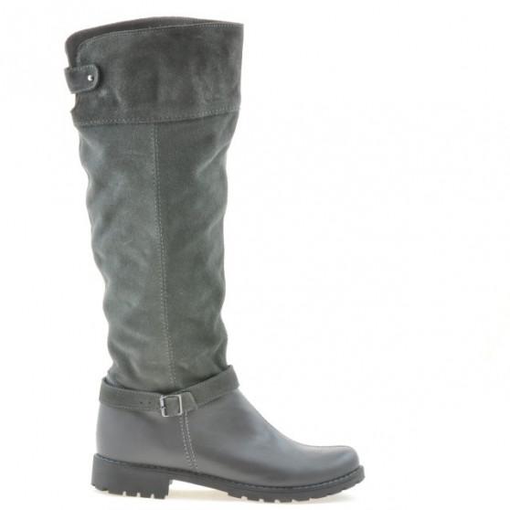 Women knee boots 3225 gray velour