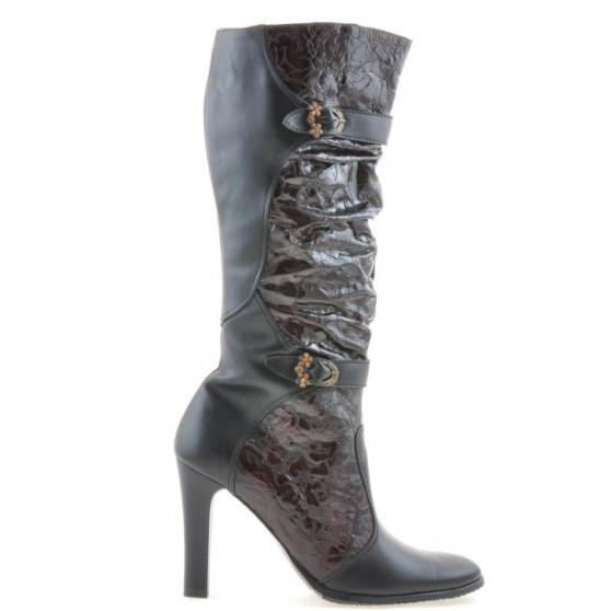 Women knee boots 008-2 black+bordo combined