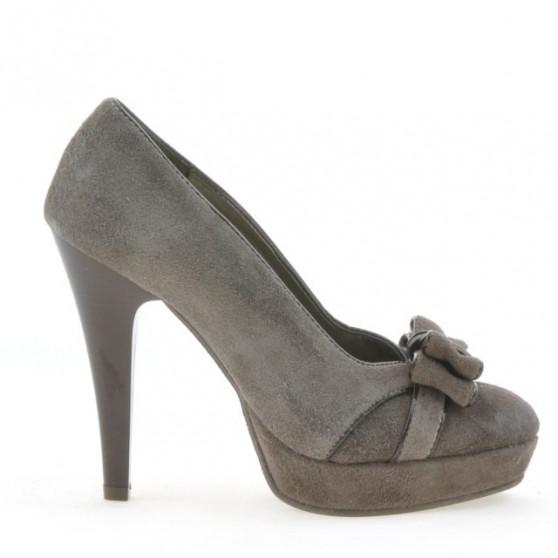 Women stylish, elegant shoes 1095 cappuccino antilopa
