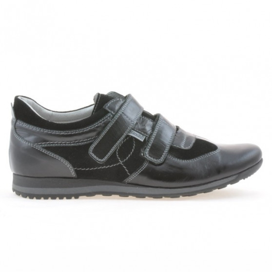 Pantofi sport barbati 712 lac negru+negru velur