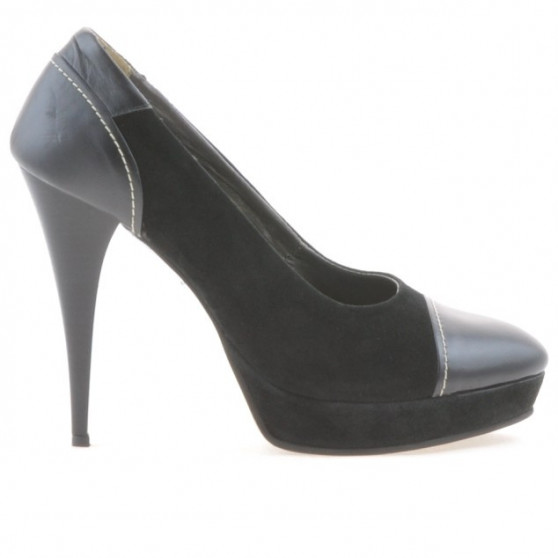 Pantofi eleganti dama 1082 negru antilopa combinat