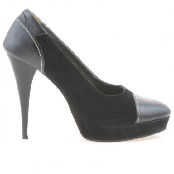 Women stylish, elegant shoes 1082 black antilopa combined