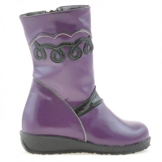 Small children knee boots 23c patent purple