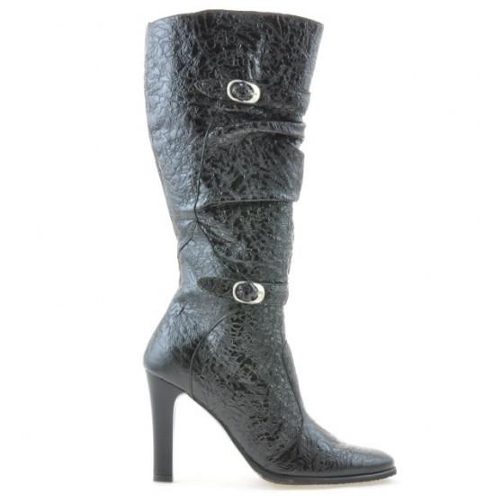 Women knee boots 008-2 crep patent black