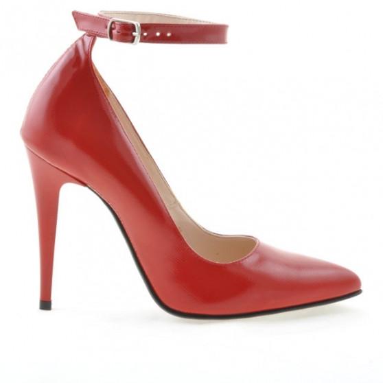 Women stylish, elegant shoes 1247 patent red satinat